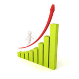 3d man grow up on rising arrow bar graph. Business success concept 3d render illustration Stock Photography