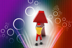 3d man and growing arrow. In color background Stock Photos