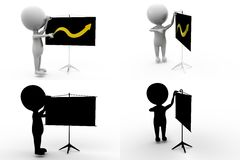 3d man growth on board concept collections with alpha and shadow channel Royalty Free Stock Images