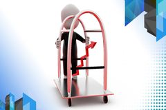 3d man growth of hotel rate illustration Royalty Free Stock Photo