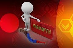 3D man growth illustration Royalty Free Stock Image