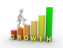 3d man and growth progress bars Royalty Free Stock Images