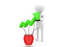 3d man growth three concept Stock Photos
