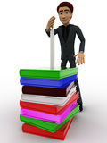 3d man guarding candal on pile of books concept Royalty Free Stock Photo