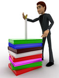 3d man guarding candal on pile of books concept Royalty Free Stock Images