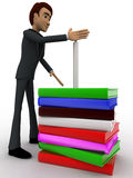 3d man guarding candal on pile of books concept Stock Photography