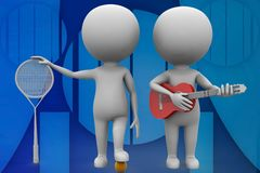 3d man guitar artist and sports man illustration Royalty Free Stock Image