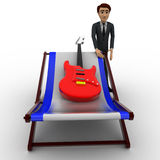 3d man with guitar and bed concept Royalty Free Stock Image