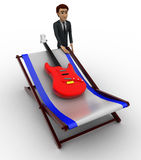 3d man with guitar and bed concept Stock Image