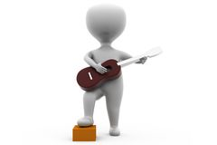 3d man with guitar concept Stock Photography