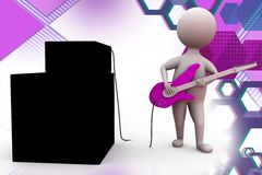 3d man with guitar illustration Stock Image