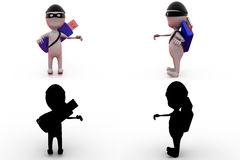 3d man hacker concept collections with alpha and shadow channel Royalty Free Stock Images