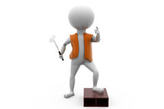 3d man with hammer stand concept Royalty Free Stock Photo