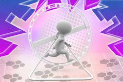 3d man hamster wheel illustration Royalty Free Stock Photo