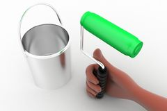 3d man hand holding paint brush and can Royalty Free Stock Photography