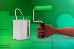 3d man hand holding paint brush and can illustration Stock Image