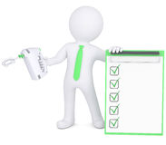 3d man with hand mixer and checklist. 3d man with a hand mixer and checklist. Isolated render on a white background Royalty Free Stock Photo