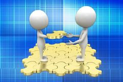 3d man hand overing puzzle illustration Royalty Free Stock Photography