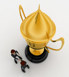 3d man hand shake for congratulate and big golden cup concept Stock Photography