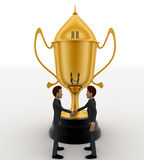 3d man hand shake for congratulate and big golden cup concept Stock Photos