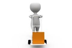3d man hand truck box concept Stock Photo