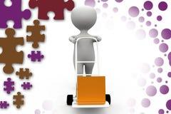 3d man hand truck box illustration Stock Images