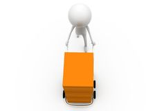 3d man hand truck concept Stock Images