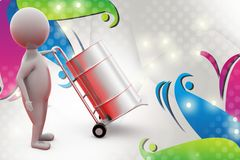 3d man with hand truck  illustration Royalty Free Stock Photo