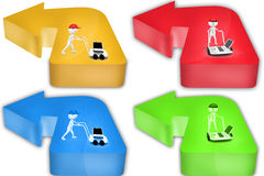 3d Man with hand truck and laptop concept icon Stock Photography
