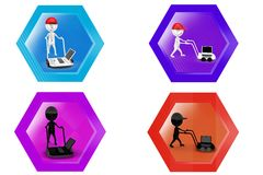 3D Man with hand truck and laptop concept icon Stock Images