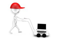 3d man with hand truck and laptop concept Stock Image