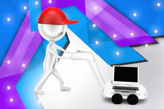 3d man with hand truck and laptop illustration Stock Photo