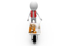 3d man hand truck traffic cone concept Royalty Free Stock Image