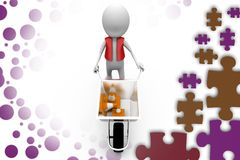 3d man hand truck traffic cone illustration Royalty Free Stock Photos