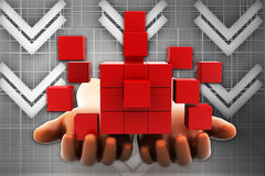 3d man hands - sustainable development with Cube illustration Stock Photo
