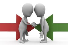 3d man handshake with arrows concept Stock Photography