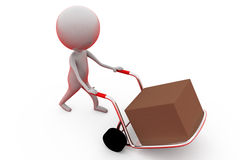 3d man with handtruck concept Royalty Free Stock Photography