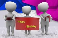 3d man happy birthday illustration Stock Images