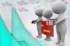 3d man happy birthday  illustration Stock Photos