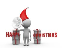 3d man happy christmas announcement Royalty Free Stock Photos