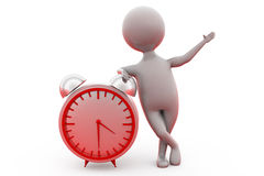 3d man happy with clock concept Royalty Free Stock Image