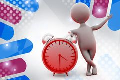 3d man happy with clock  illustration Stock Image