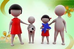 3d man happy family illustration Royalty Free Stock Photo