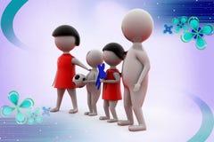 3d man happy family illustration Stock Photography