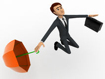 3d man happy and jump with briefcase and umbrella concept Royalty Free Stock Images