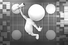 3d man  happy jumping for the success illustration Royalty Free Stock Photos