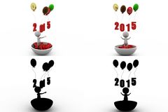 3d man happy new year balloon concept collections with alpha and shadow channel Royalty Free Stock Image