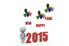 3d man happy new year balloon concept Royalty Free Stock Photography
