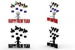3d man happy new year concept collections with alpha and shadow channel Stock Photos