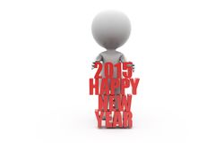 3d man 2015 happy new year conecept Royalty Free Stock Photo